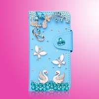 Butterfly flowers blue PU leather case for Samsung Galaxy S DUOS S7562