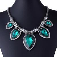 Qiyun Green Green Acrylic Cut Tear Drop Bead Chunky Black Chain Fashion Lady Collar Necklace Collar Halskette Collier