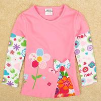 FREE SHIPPING F5008Y 5 pcs/lot NOVA kids wear 2014 fashion girls tops lovely peppa pig long sleeve T-shirts for baby girls  tees