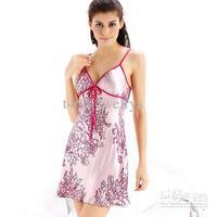 Ladies Pajamas Sexy Sets Pyjamas Charm Pink Womens Sleepwear Silk Flower Nightgowns 5pcs / lot