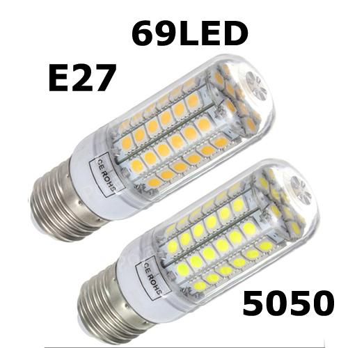Ultra bright new E27 SMD 5050 15W LED corn bulb lamp, 69LEDs, Warm white / white,5050SMD led lamp e27(China (Mainland))