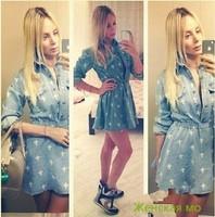 2014 Spring Summer Women Jeans Dress Retro Street Cross Eiffel Tower Printed Long Sleeved High Waist Denim Dress