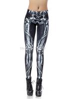 High Quality 2014 Summer Women Leggings 3D Skeleton Printed Sexy High Waist Pencil Pants DK140