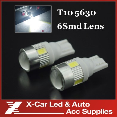 5x White T10 W5W Samsung 5W 6 SMD 5630 High power LED SMD 194 Projector LENS License Plate Light Lens Bulbs For Universial Car(China (Mainland))