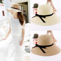 Fashion Women's Sun Hat Fashion Summer Foldable Straw Hats Women Beach Headwear 2 Colors