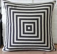 CU041 Crative black moden geometric printed linen car home ornament pillow case cushion cover  promotion wholesale