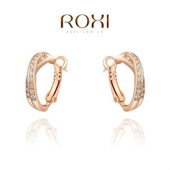 Roxi элегантные женские серьги ручной работы, изготовлены из розового золота (позолота), с трех разовым золотым напылением, украшены австрийским кристаллом,100% качество