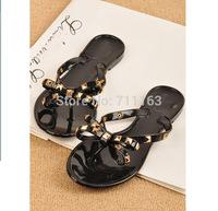 2014 Hot Brand New stylish Fashion Womens Jelly Rivet Bow Flip Flops/Flats/Beach Thong Sandals Beige, Black US4-9
