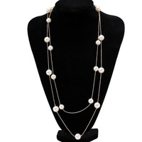 Qiyun Gold Long Tops Dress Gold Plated White Pearls Bead Double Chain Elegant Necklace New Collar Halskette Collier