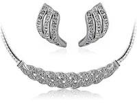 Free White Gold Plated Rhinestone Rhinestone Necklace Earrings Jewelry Sets
