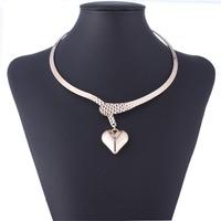 Qiyun Gold Simple Beauty Torsade Lariat Choker Heart Love Dangle Pendant Necklace  Collar Halskette Collier