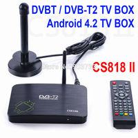Newest DVB-T2 android tv box CS818 II Dual Core AMLogic8726-MX 1.5GHz Android 4.2.2 1G 8G WiFi HD DVBT free shipping