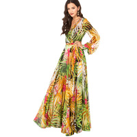 Women Summer Dress 2014 New Chiffon Flower Printed Long Sleeve Pleated Elegant Evening maxi Dress Vestidos Casual Free Shipping