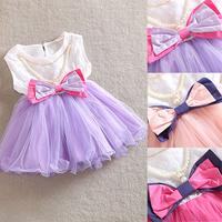 Kids Girls Bow Princess Tutu Dress One Piece Dress w/Pearl Necklace Dress 0-3Y Free &Drop shipping