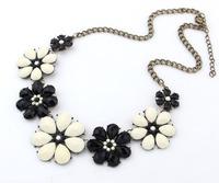 YXSP139  2014 new fashion Retro exaggerated Rhinestone Crystal Highland peach colored gemstone flowers necklace for women