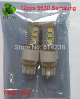 2x T20 7440 7443 12 SMD 5630 Samsung Car Tail Stop Brake Turn Signal Light led bulb White DC12V