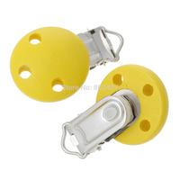 "Wholesale - Wood Baby Pacifier Clip Round Yellow 4.4cm x 2.9cm(1 6/8"" x1 1/8""),5PCs  (B36836)"