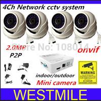 4ch network cctv system ,4pcs 2.0MP IP HD Onvif 3.6mm Waterproof mini dome camera and a 4ch MINI NVR ,NVR KIT,Free shipping