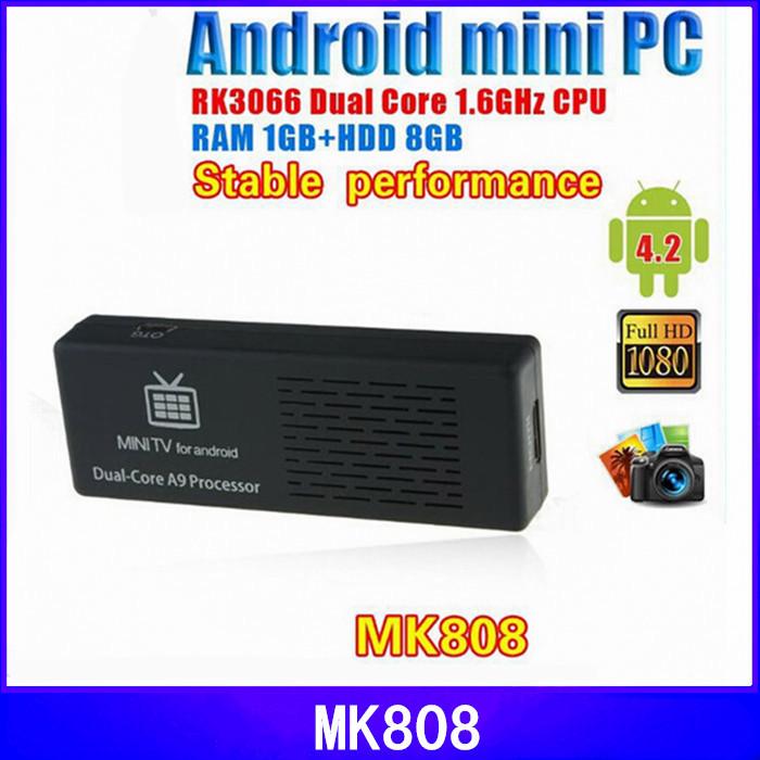 2015 Original MK808B MK808 Android 4 HDMI TV Stick TV Dongle Rockship RK3066 Dual Core 1GB 8GB Mini PC Android MK808B Bluetooth(China (Mainland))