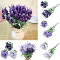 Free Shipping Retro 10 Head Fake Bouquet Wedding Artificial Flower LAVENDER Home Wedding Decor