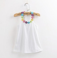 5 pcs / Lot 2014 Summer New Children's Clothing Girls Flowers Collar Camisole Candy Color Girl Vest GQ-380