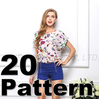 S-XXL 2014 Summer Casual Womens Crew Neck Short Sleeve T Shirt Women Loose Fit Batwing Tees Print Pattern Chiffon T-Shirt