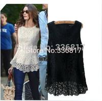 2014 New summer Fashion lace doll chiffon sleeveless women's top basic shirt blusas White lace sleeveless shirt