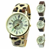 Free Shipping rendy Women Dress Watch Quartz Watches Faux Leather Feather Geneva Watch