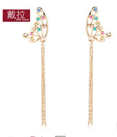 earrings fashion design long tassel drop earring rose gold butterfly