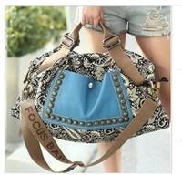 2014 New Fashion Women Ladies Prints Studded Rivets Travel Handbag Shoulder Strap Tote Vintage Canvas Casual Messenger bag 36251
