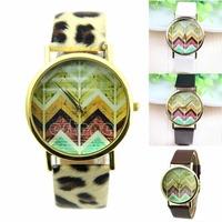 Free Shipping Womens Fashion Wave Dial Geneva Quartz Leather Band Analog Wrist Watches