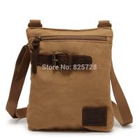 New! High Qualify Khaki  Men Women Vintage Canvas Genuine Leather Messenger Bag Satchel Causal Shoulder Travel  Bags