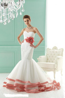 Gorgeous TrumpetMermaid Sweetheart Floor-Length Chapel Flower Wedding Dresses (Free Shipping)