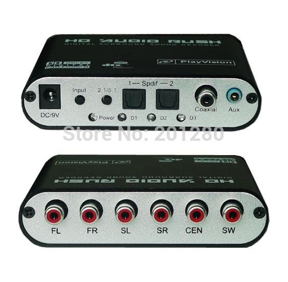 5.1 AC3 DTS Digital Audio Converter Gear Surround Sound Rush Decoder SPDIF DTS/AC-3 DVD Player HD Xbox 360 PS3(China (Mainland))