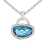 Lovely Austria Element Cyrstal Red Lock and Lock Pendant Features Necklace Women Girl Gift Accessory