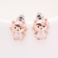 emerald earrings Kawaii cat earrings Korean jewelry wholesale needles italina
