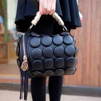 2014 New Fashion women messenger bag BOSS big button round bucket bag buttons women's leather Handbags one shoulder handbag