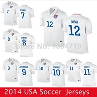 Free shipping new 2014 world cup USA/America team white soccer jerseys DEMPSEY JONES BRADLEY size S--XL camisas football T-shirt