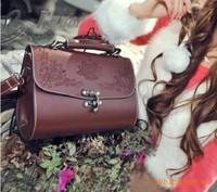 2014 new vintage bag with printing mini bag fashion satchel bag women messenger bags doctor style women handbag