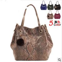 Genuine leather bag 2014 new bag for woman vintage shoulder bags woman's snake handbag