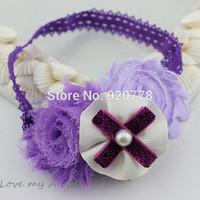 Free shipping Baby girl headband lace chiffon shabby flower headband with pearl bow Newborn & Infant photography prop 24pcs/lot