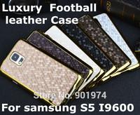 Football Grain  leather Square Metallic Gold Edge case For Samsung Galaxy S5 i9600 Hard plastic Chromed Back Skin Cover