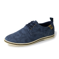 Free shipping 2014 new fashion mens blue breathable cotton surface flats casual male dress oxford driving boat shoe lazyloafer