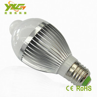 Free shipping 4pcs/lot Aluminum 5w 7w 110v 220v Infrared Motion Sensor led bulb lamp warm & cool white Wholesale