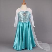 2014 Frozen Princess Dress Elsa Snow Queen Dress Girl's Formal Dresses Shiny Sequined Cloak Children Costume Girls Party Dress