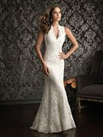 Sexy V Neck Lace Mermaid Wedding Dress 2014 vestidos de noivas Court Train Long Bridal Gowns