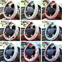 Plaid Lace Summer car steering wheel cover Korean female lovely Four Seasons General handlebar sets