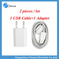 2Pieces/Set Power Adapter & USB Charging USB Charger USB Cable for iPhone 4 4s(White) Free Shipping