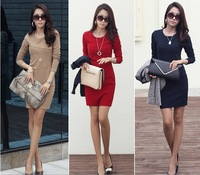 2014 Spring Summer Women's fashion Dresses  slim hip basic Slim long-sleeve Dress plus size S-XXXL Black Red Khaki