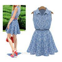 2014 Hot Sale Fashion  New Sweet Women's Lapel Collar Sleeveless Jeans Skirt  Floral Print Dress Size L/XL 25JE3086